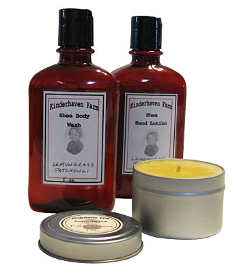 Soy candles, body wash and hand lotion created by Kinderhaven Farm.